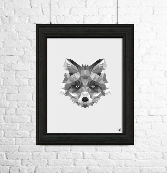 Volpe di stampa, Woodlands Decor, Fox Wall Art, animale arte stampa, stampabile in bianco e nero, scandinavian ,Woodlands,scandi di PrintWithLove11 su Etsy