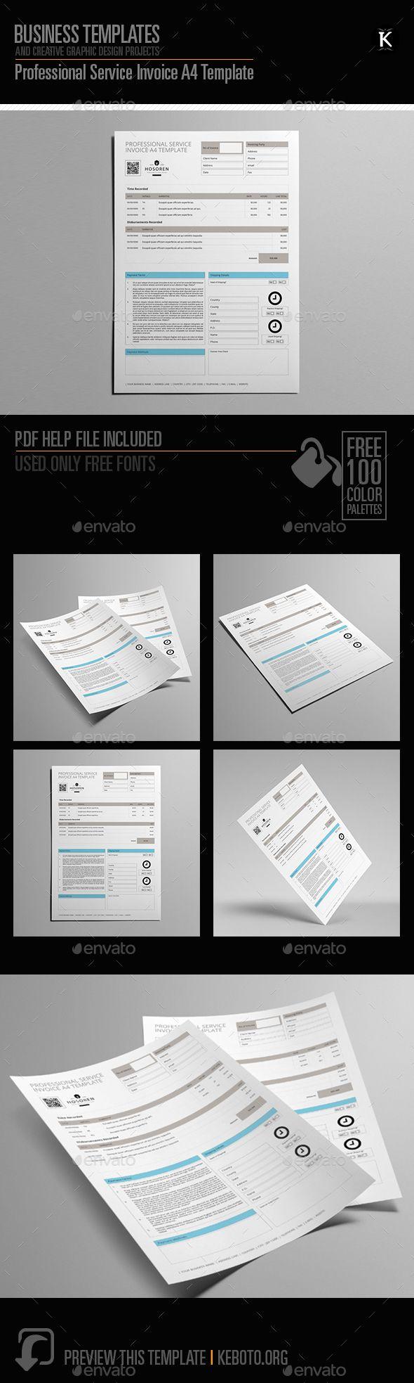 Professional Service #Invoice A4 Template - Miscellaneous Print Templates