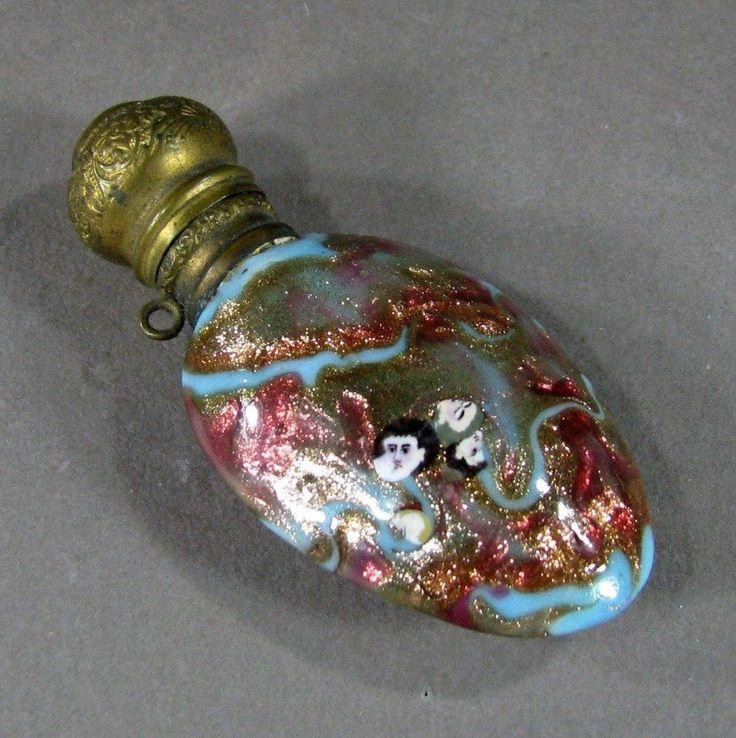 19th c Venetian Murano Glass Scent Perfume Bottle w/ 8 Face Murrine & Aventurine    £268.98 (18B)