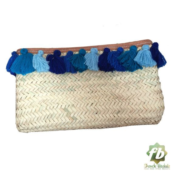 French Baskets clutch bags PomPom Bell blue : by Frenchbaskets