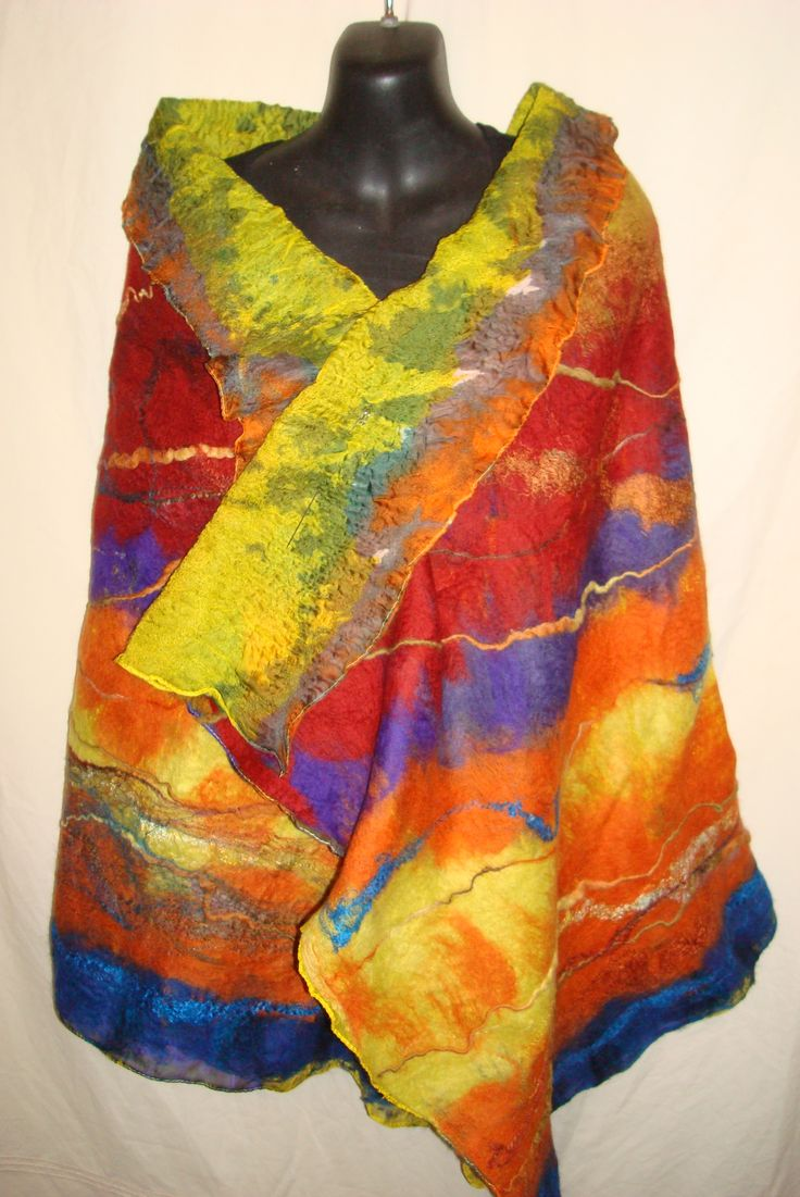 Manta Wiru- Beautiful Land / country Nuno felted wrap 100% Australian Merino Wool embellished with silk SOLD Created by Barbara Scott www.facebook.com/wowcreationsqld