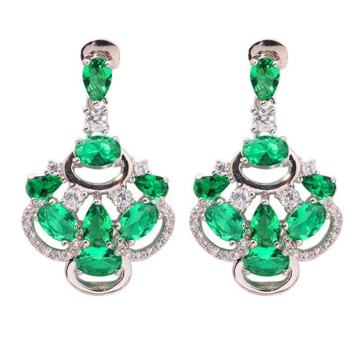 "Green Quartz Cubic Zirconia Silver Earrings Wholesale Retail Hot Sell For Fashion Women Jewelry Stud Earrings 1 1/4"" FH6208"
