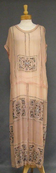 Beaded Pink Silk 1920's Evening Dress