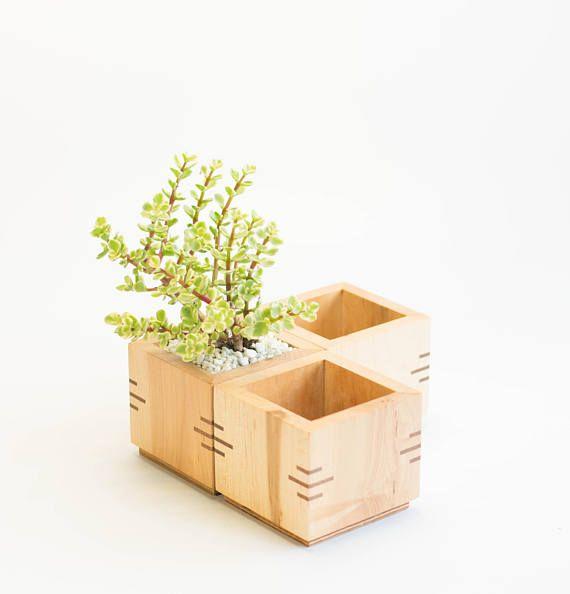 Wooden Planter Box Square Planter Succulent Planter Maple