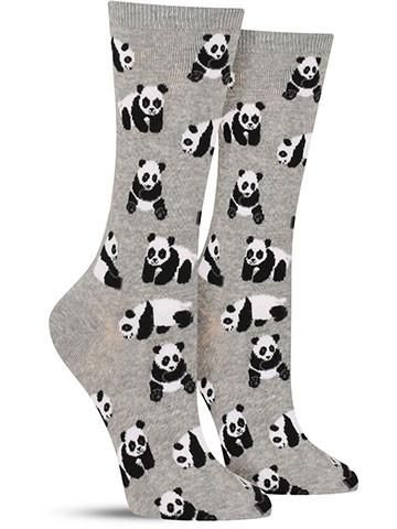 What's black and white and adorable all over? Why the panda bear, of course! On these fun animal socks, playful pandas are doing what they do best — absolutely nothing but sitting there and looking cu