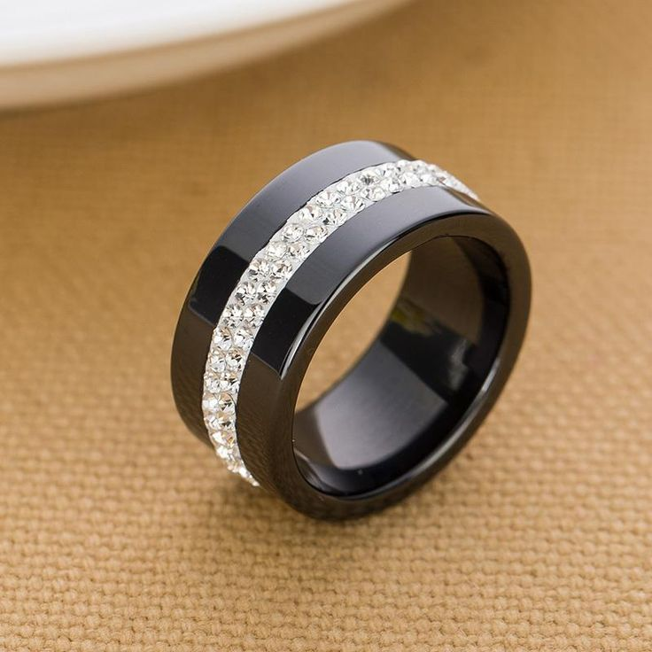 [Visit to Buy] New 10MM Black and White 2 Row Crystal Ceramic Ring Women Engagement Promise Wedding Band Gifts For Women #Advertisement