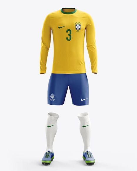 Soccer Kit With Long Sleeve Mockup / Front View. Preview