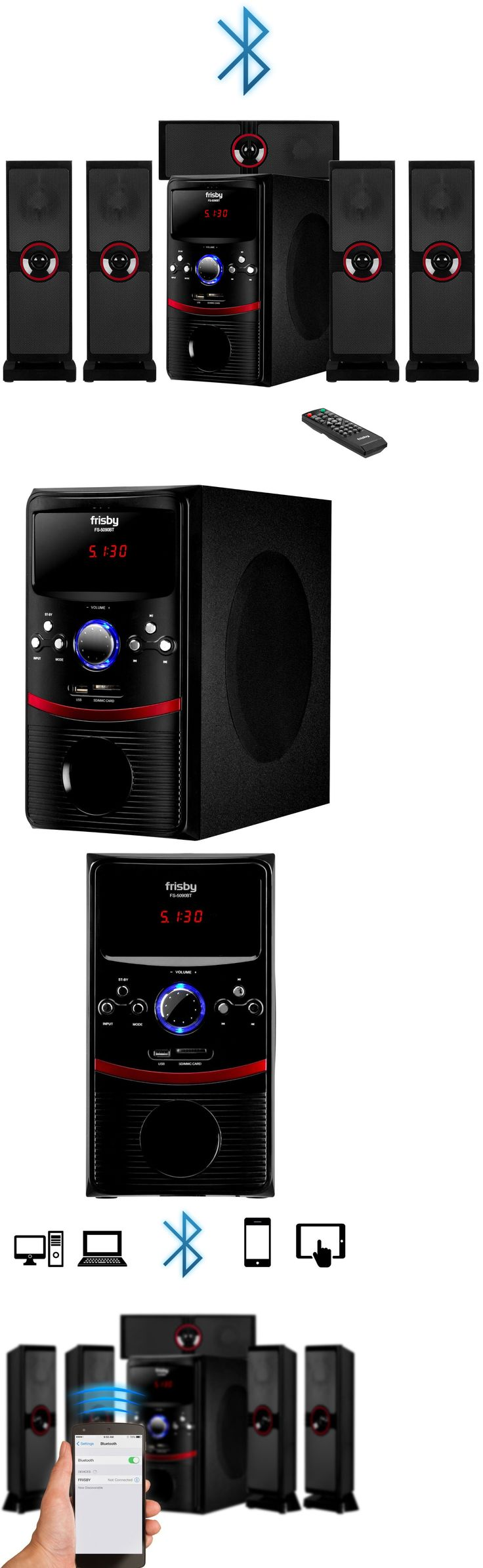 Home Theater Systems: Frisby Fs-5090Bt Surround Sound System 5.1 Ch W Bluetooth Sd Usb Aux For Tv Pc -> BUY IT NOW ONLY: $109.95 on eBay!