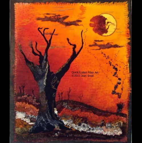 Red October Art Quilt on TAFA by Quick2ListenFiberArt
