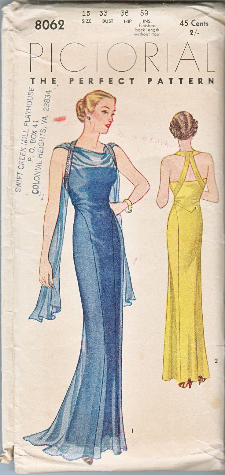 Evening dress pattern. Goddess style with scarf drape. 8062 pictoral pattern