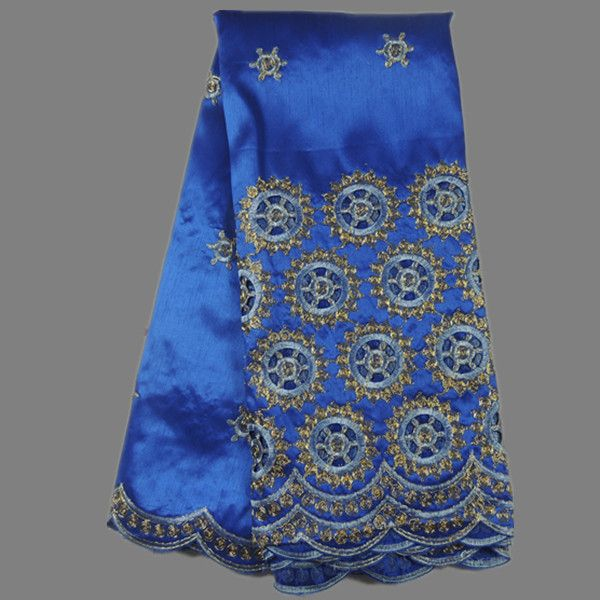 New arrival party raw silk material with holes African cotton embroidery george lace fabric with sequins for dress AG8-4