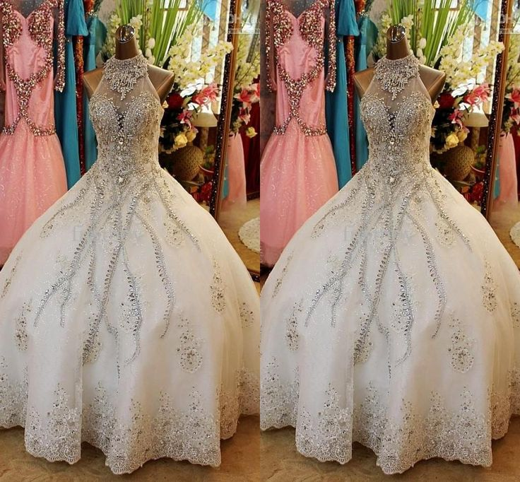 2015 Vestidos Real Image Wedding Dresses Ball Gown Sexy Halter Sparkly Rhinestones Crystal Lace Applique Cathedral Train Organza Bridal Gown Ball Gown Wedding Dress Designers Ball Gown Wedding Gowns From Yoursexy_cute, $287.2| Dhgate.Com