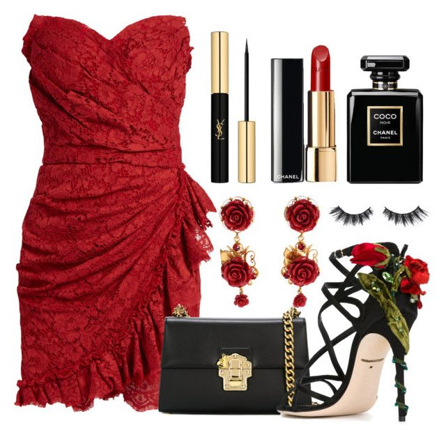 """123. Red Dress Time"" by coeurdalenee on Polyvore featuring Dolce&Gabbana, Yves Saint Laurent, Chanel and Violet Voss"