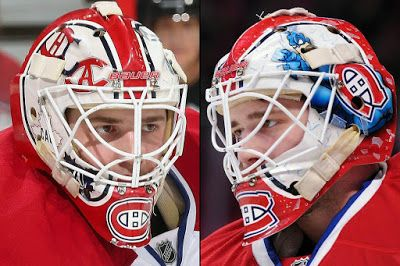 Dustin Tokarski of the Montreal Canadiens (born Sept. 16, 1989 in Watson, SK.) 2015-16 Mask / It looks like Tokarski is wearing the mask he's worn the previous two seasons. / Artist: David Arrigo