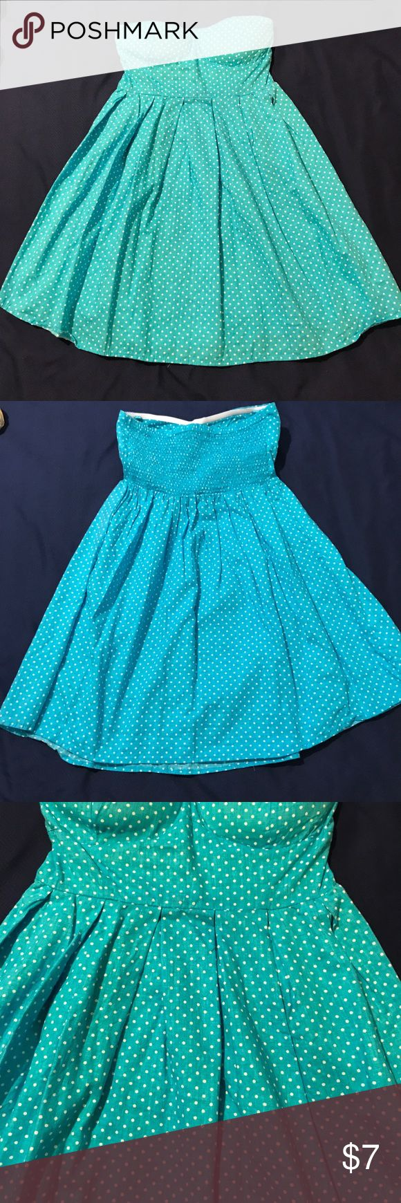 Baby blue polka dot dress Planet Gold dress, size small, color best seen on second picture, baby blue, white polka dots, padded bust area, very pretty, good used condition Planet Gold Dresses Strapless
