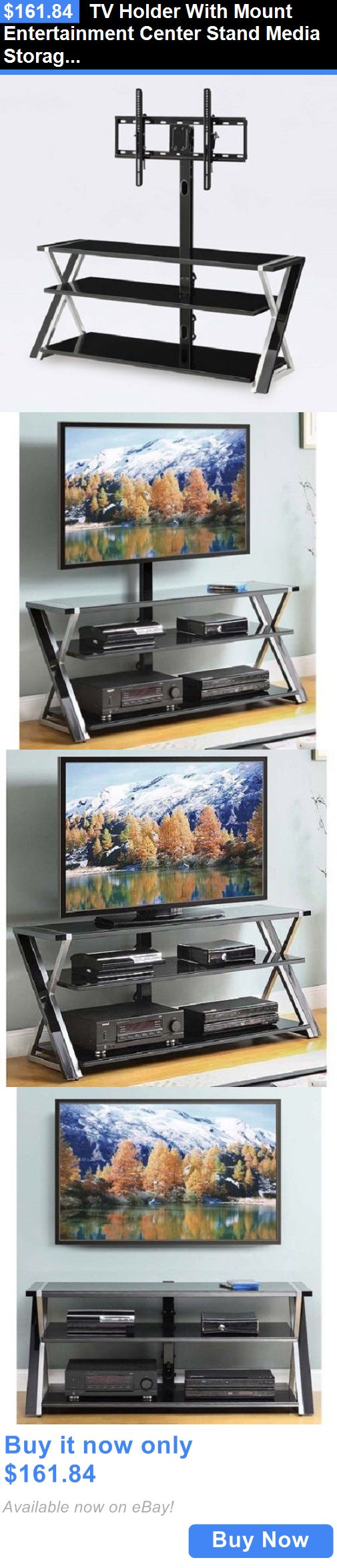 Entertainment Units TV Stands: Tv Holder With Mount Entertainment Center Stand Media Storage Black Modern 70 BUY IT NOW ONLY: $161.84