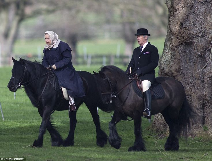 Riding into spring: The Queen, who turns 91 next month, was joined by Head Groom Terry Pen...