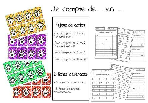 jeux de cartes et fiches d'exercices pour compter de 2 en 2 (nombres pairs, nombres impairs), de 5 en 5, de 10 en 10