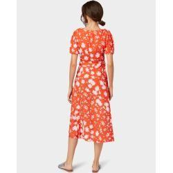Tom Tailor Damen Wickelkleid mit Blumenmuster, rot, gemustert, Gr.40 Tom TailorTom Tailor