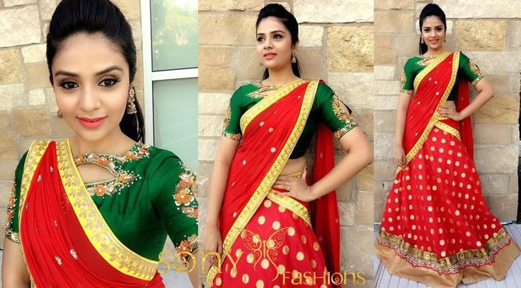 Pretty vibrant  Red   Green !!!Ethnic colors Never fade...Beautiful Sreemukhi in our Designer Sony Reddy  couture ..for couture details :-mail us at:-sonyreddy24@gmail.comcall or whtsapp:-8008100885  21 December 2016