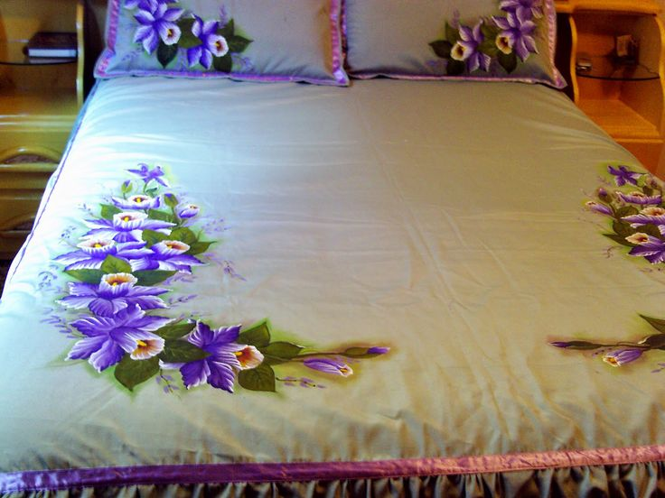 Coisas da Nil - Pintura em tecido: Colcha verde
