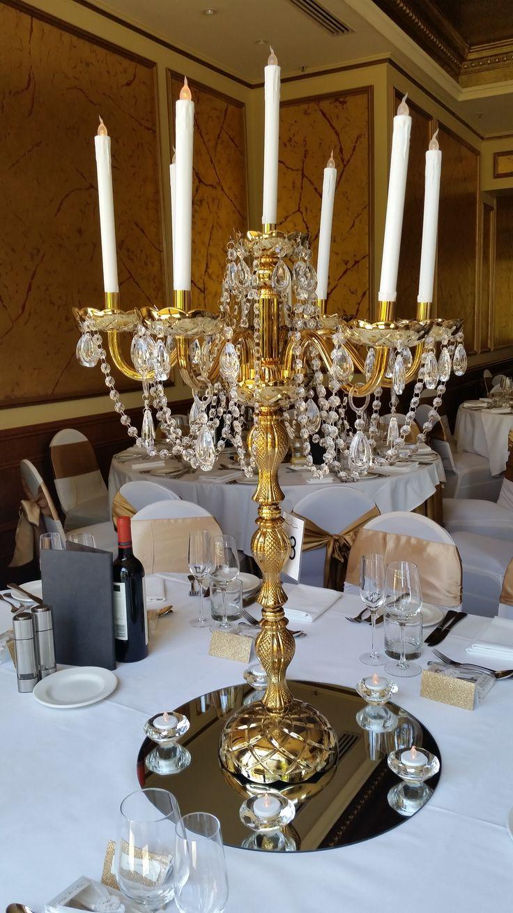 Gold and crystal bead candelabra www.houseofthebride.com.au