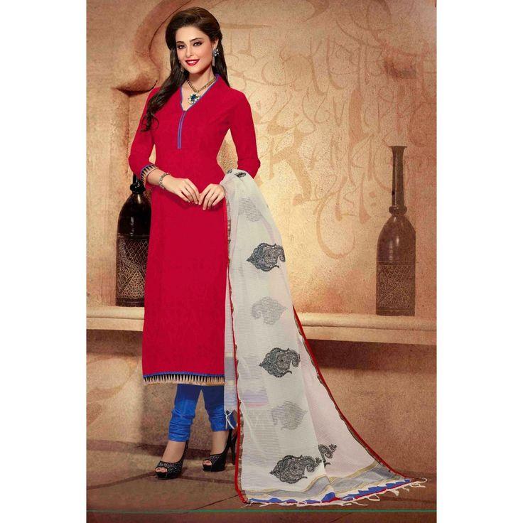 Red Chanderi Designer #ChuridarKamaeez With Dupatta