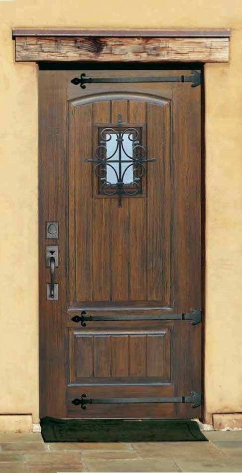 Rustic Fiberglass door With speakeasy & Straps. V-grooved plank panel. many authentic wood finis fiberglass doors available on store