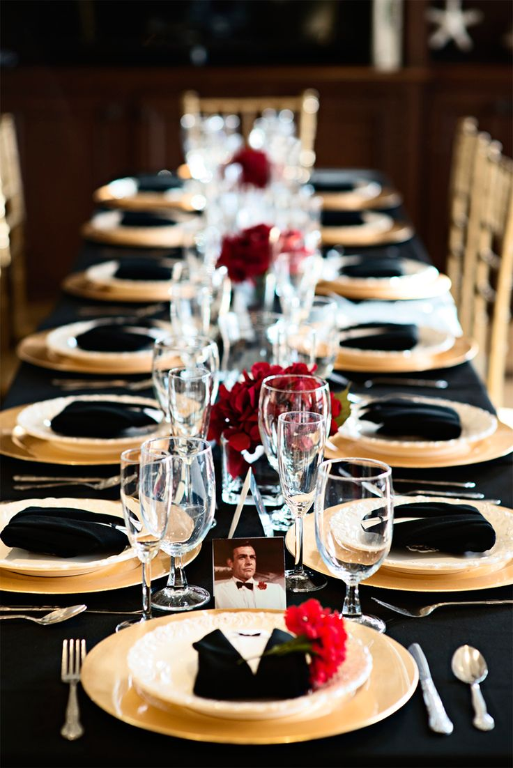 Beautiful table setting idea for a James Bond Party | Find everything you need to plan your own James Bond Casino Royale Party at http://sparklerparties.com/casino-royale/