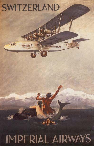 1920's 4-engined biplane sea monster impresses mer people and humans alike.