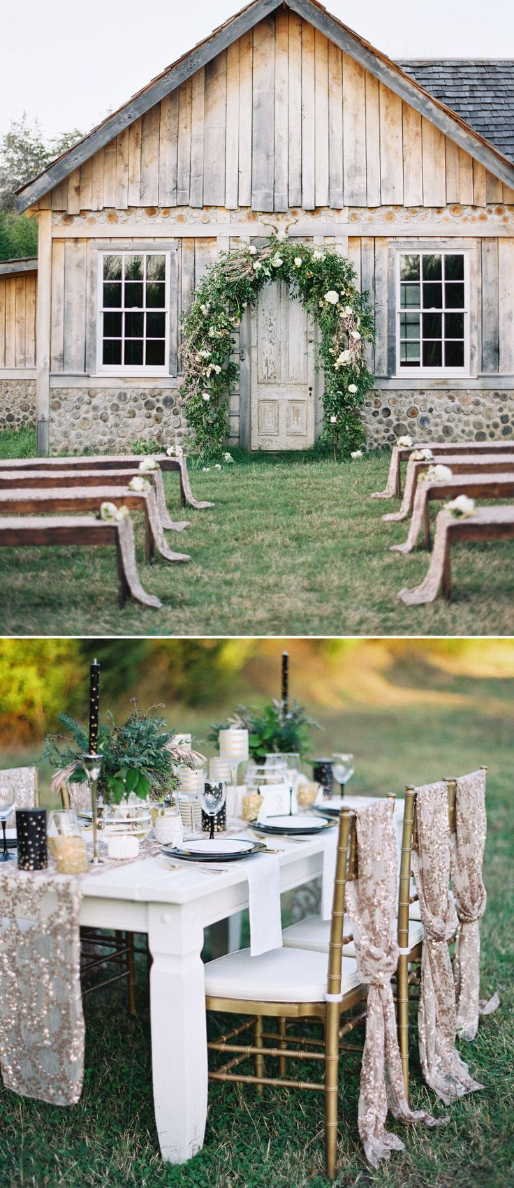 This might seem like a country wedding at first glance, but the details are unexpected in the best way possible! Think gold & black, metallics, and sequins.