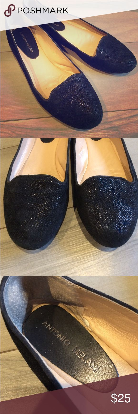 Antonio Melani black leather flats 9.5 Subtle snakeskin suede with a little shimmer. In good condition with lots of life left. The outside looks almost brand new, the inside has a small tear in the right shoe. ANTONIO MELANI Shoes Flats & Loafers