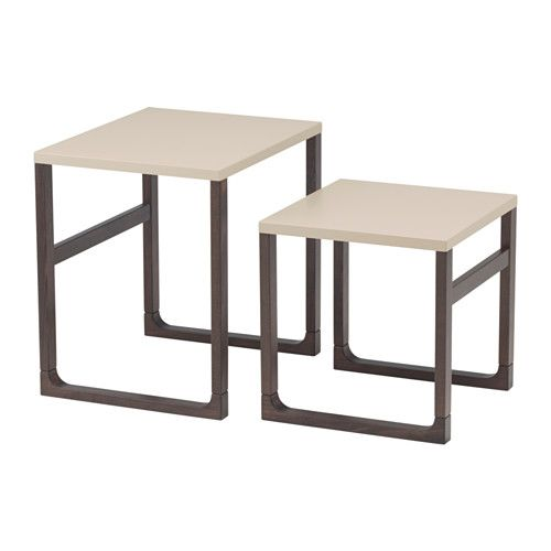 IKEA - RISSNA, Nesting tables, set of 2, , Can be used individually or be pushed together to save space.The high-gloss surfaces reflect light and give a vibrant look.The table legs are made of solid wood, a durable, natural material.