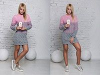 Вязанное платье серо-розовое