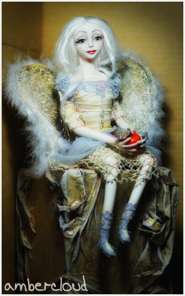 Ангел с Яблоком doll, dollart, hand made, ©ambercloud, авторская кукла