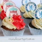 Soccer Finals Cupcakes. Cupcake toppers can be custom made.