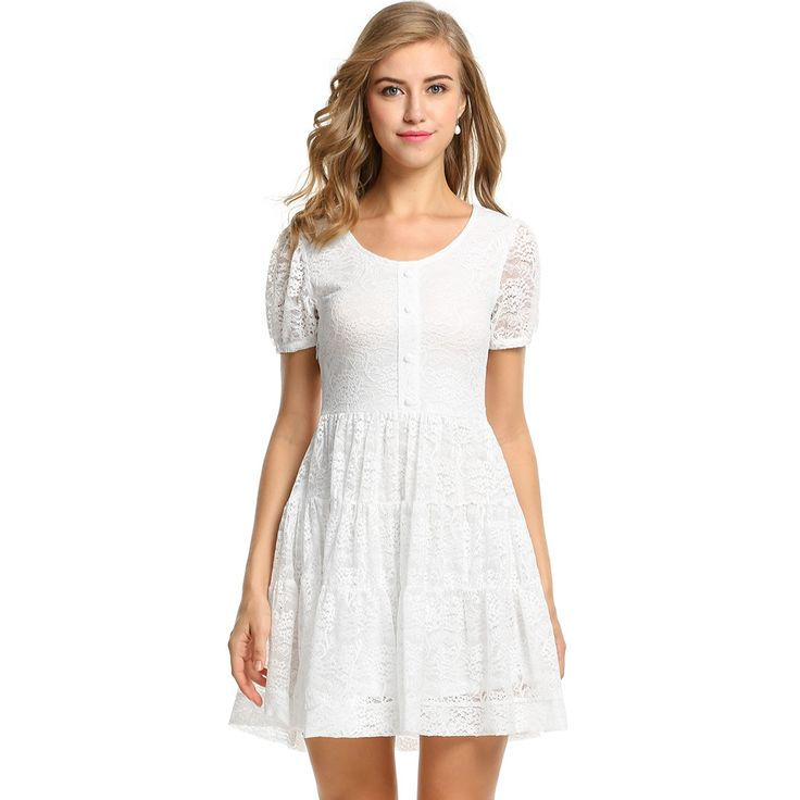 White Women Short Sleeve Lace Floral Pleated Going Out Dresses