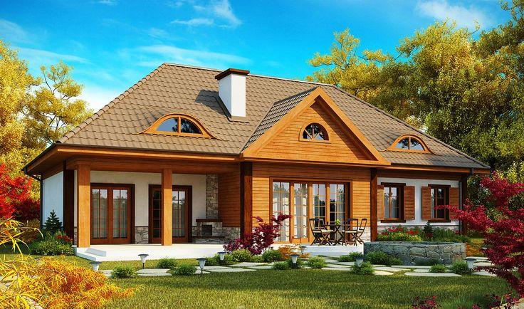 Dom tradycyjny w stylu dworkowym z drewnianą elewacją i przeszkleniami - Widok od ogrodu