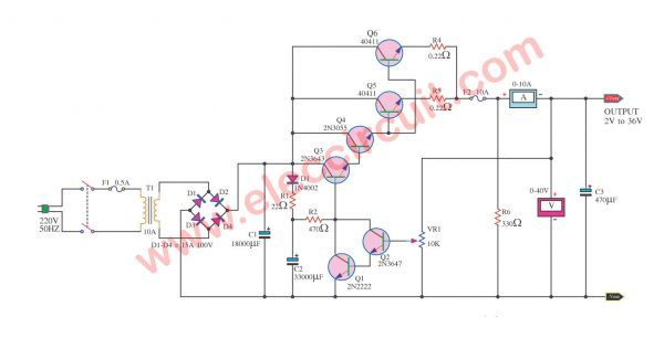 Variable power supply circuit, 0-50v at 3A with PCB - ElecCircuit