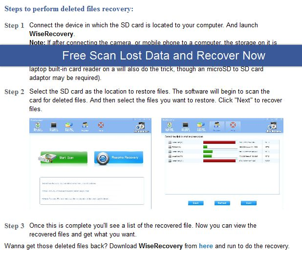Lost some important files on your SD card?Well, you can try using some files recovery programs as there're lots of them which are available on the market. I recommend WiseRecovery, one of the most reliable and risk-free programs which could help you to get your files back in a fast and easy way.
