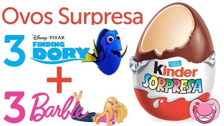Ovo surpresa da Barbie e da Dory - 6 ovos Kinder 🍫