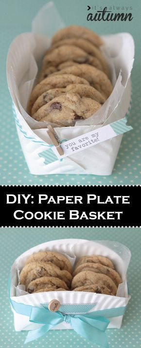 PIN & SAVE – This easy DIY Paper Plate Cookie Basket is perfect for party favors!