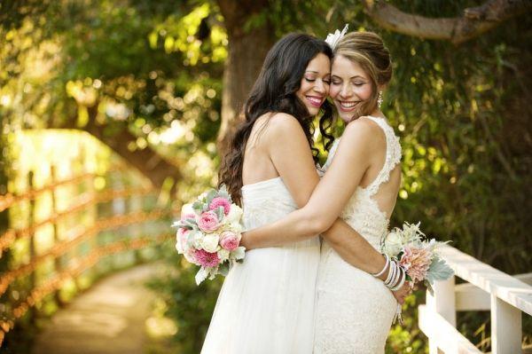 Backyard Lesbian Malibu Wedding with 2 dresses... LOVE
