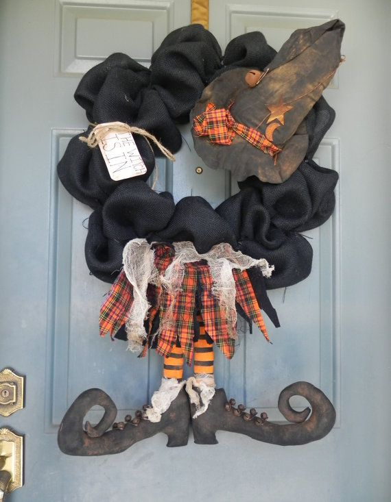 Burlap Halloween Wreath With Witch Broom Witch by RedRobynLane