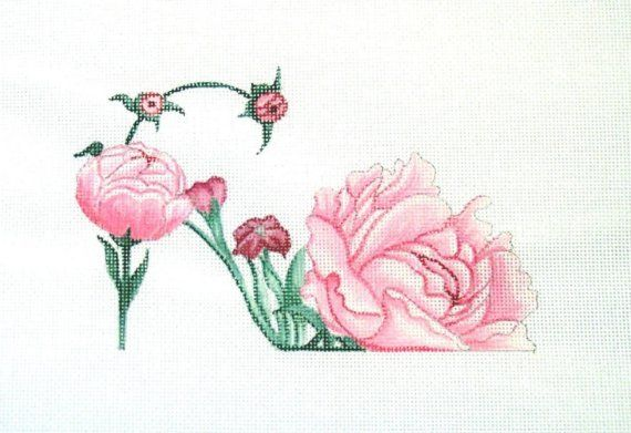 Pink Peony Slipper Needlepoint canvas by colors1 on Etsy,