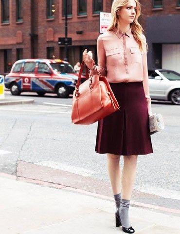 Max&Co, camicia rosa e gonna bordeaux