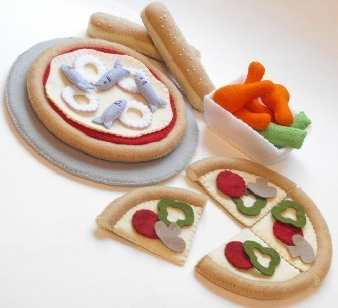 Felt Food Pattern Pizza Slices, Pan, Chicken Wings