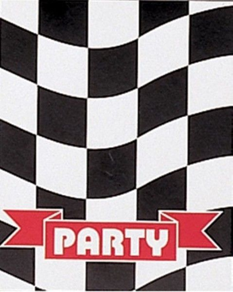 Black And White Check Racing Party Invitations Invites & Envelopes - 8 Pack