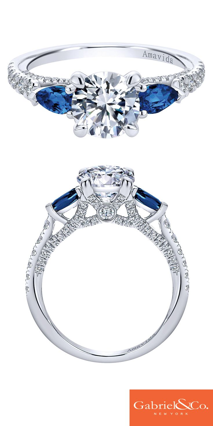 This Amavida Engagement Ring by Gabriel & Co. is a work of art. An 18k white gold diamond and sapphire three stone contemporary engagement ring will make your bride-to-be say yes! Discover your perfect engagement ring or customize your own on our website.