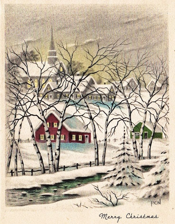 Vintage Christmas Greeting: Beautiful winter scene. Snow covered village with church in the background